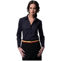 Russell Collection Ladies Long Sleeve Poly-cotton Easy Care Poplin Shirt