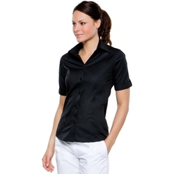 bar shirt with mock turn back cuff - black